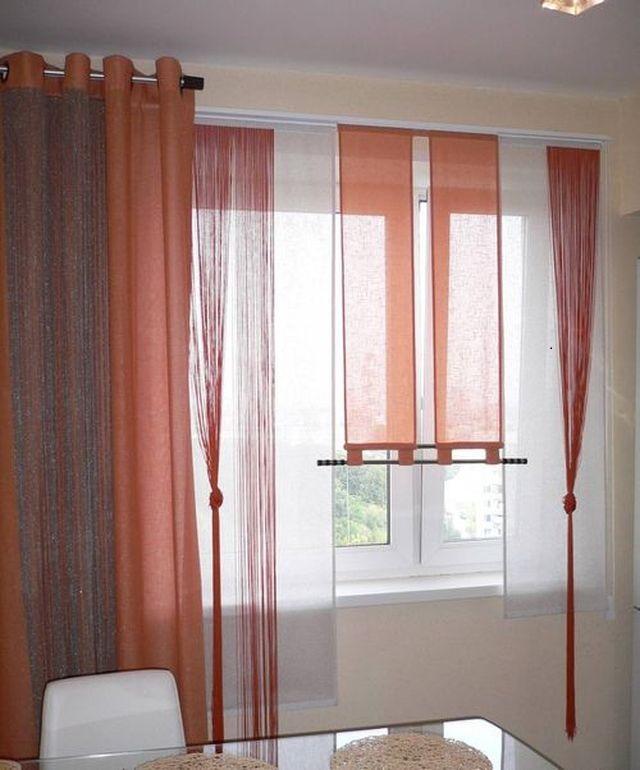 сочетание видов штор классические портьеры, кисею и японские шторы