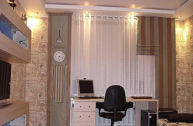 Трехуровневые японские шторы, с оригинальной аппликацией