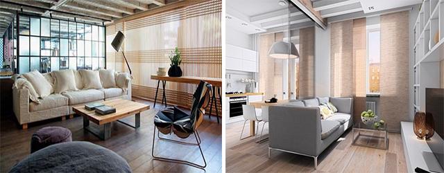 Японские шторы в помещениях в стиле лофт