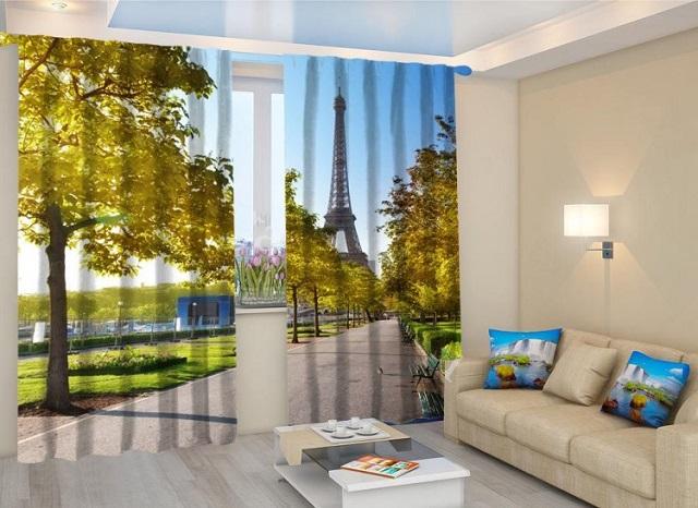фотошторы с видом на Эйфелеву башню