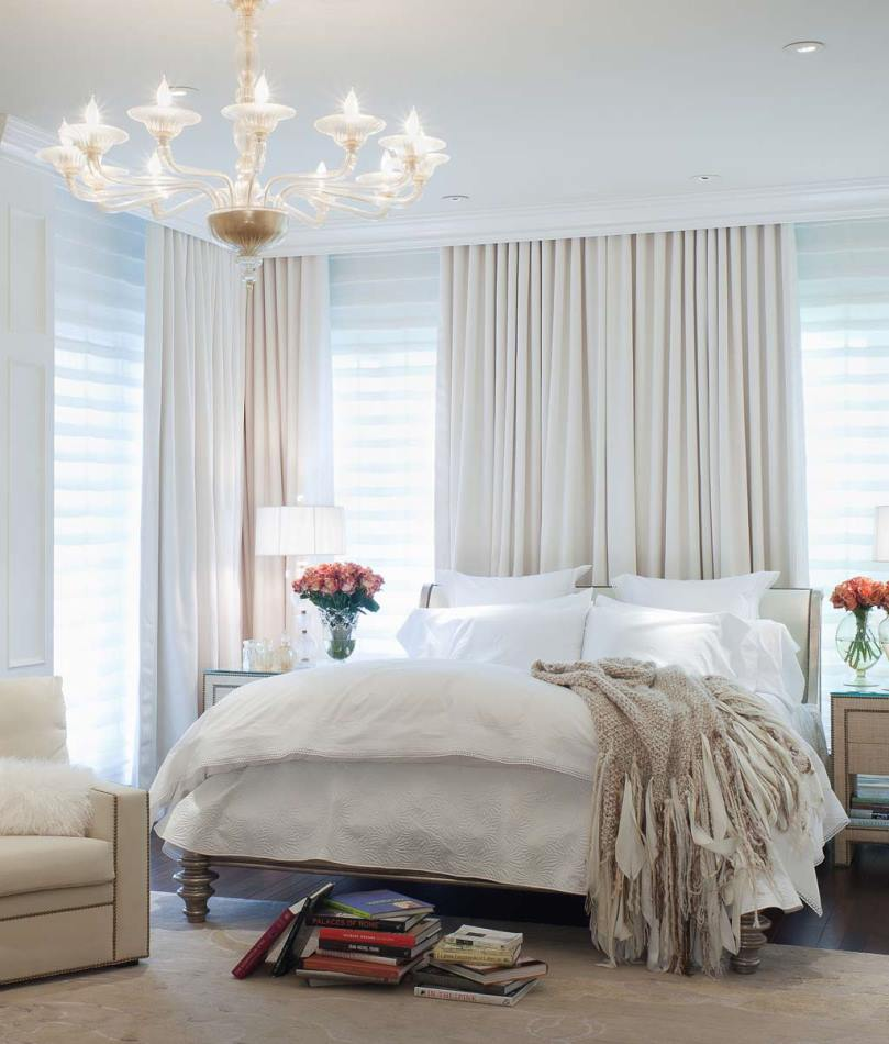 идеально белые шторы в спальне