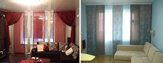интерьеры с японскими шторами в обычных квартирах