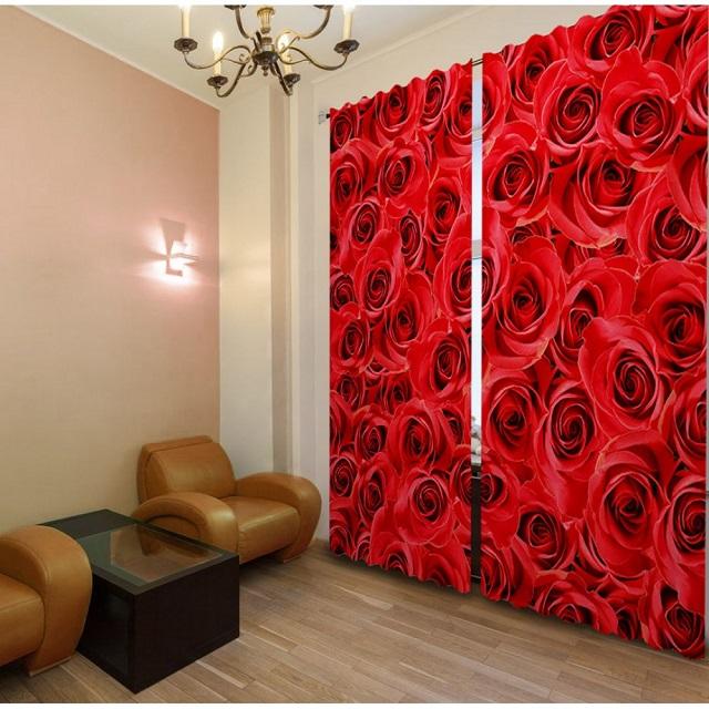 портьеры-панно с алыми розами
