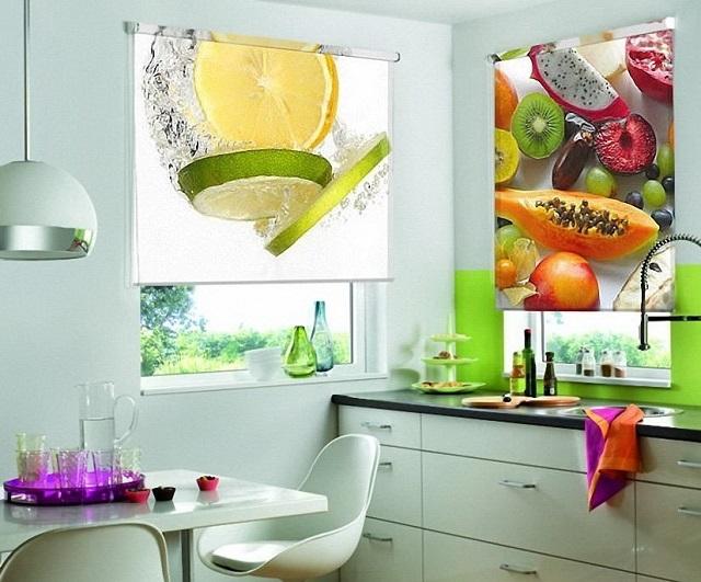 рулонные шторы с фотопечатью на кухню
