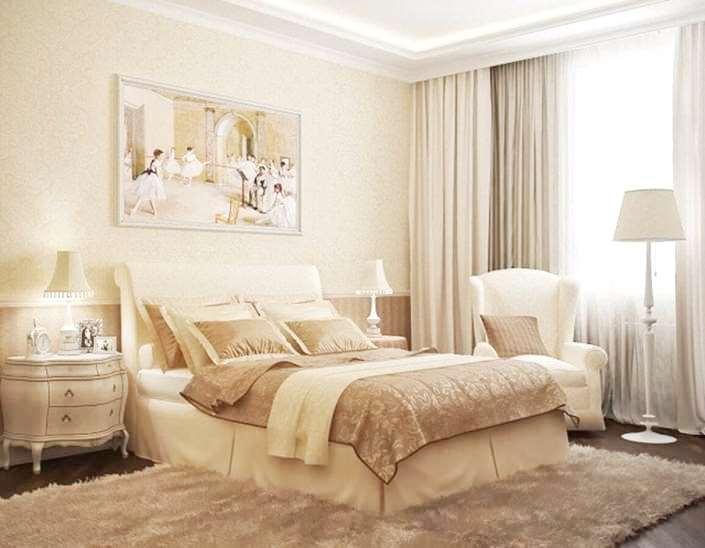 светлые занавески в спальне