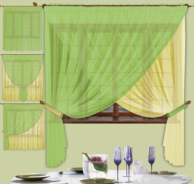 примеры как повесить две шторы разного цвета