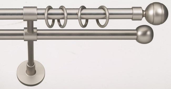 Двухрядный металлический карниз для штор из двух цветов