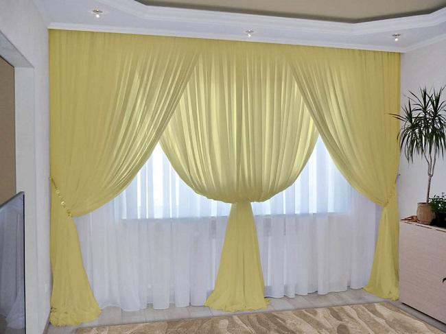 шторы вуали разного цвета для зала