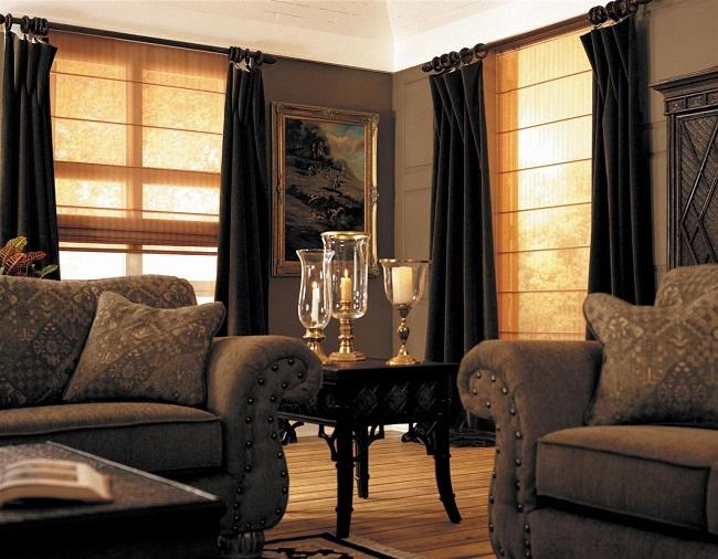 светонепроницаемые шторы для гостиной