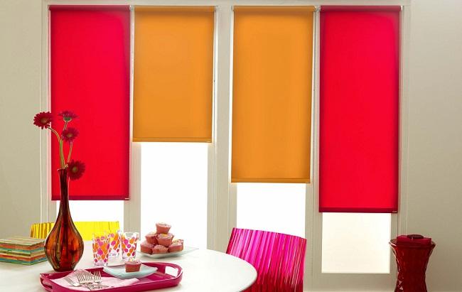 разноцветные комбинации с рулонными светофильтрами