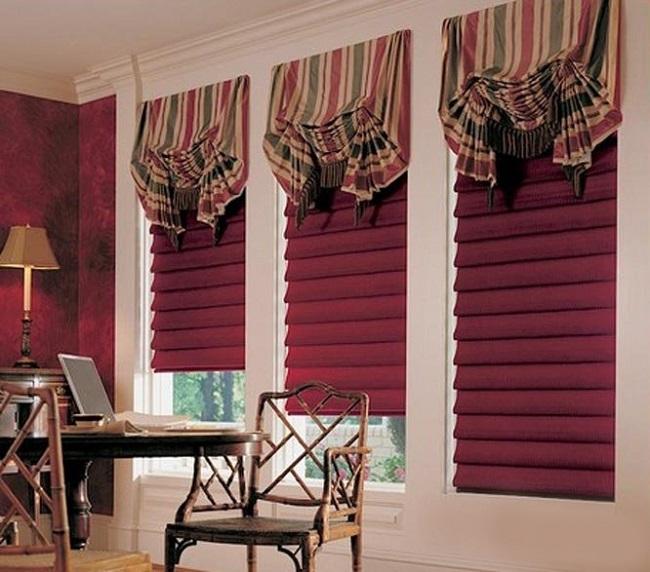римские шторы в сочетании с лондонскими разных цветов
