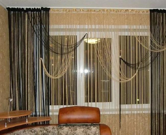 Нитяные шторы в интерьере зала