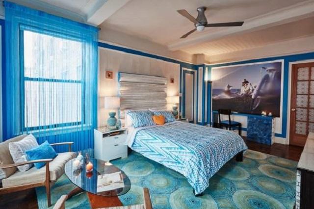 нитевые шторы в голубой гамме