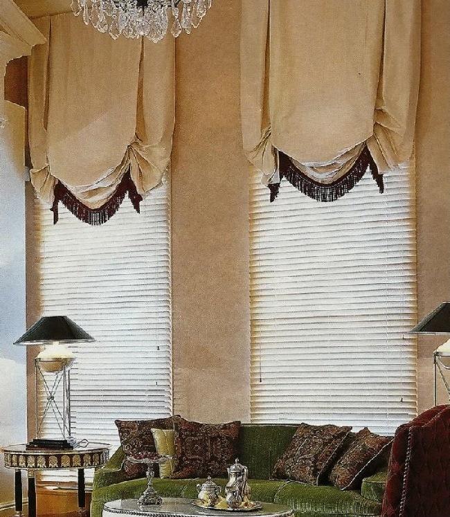 английские шторы в сочетании с горизонтальными жалюзи
