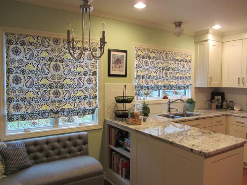Греческие шторы для кухни из смесовой ткани