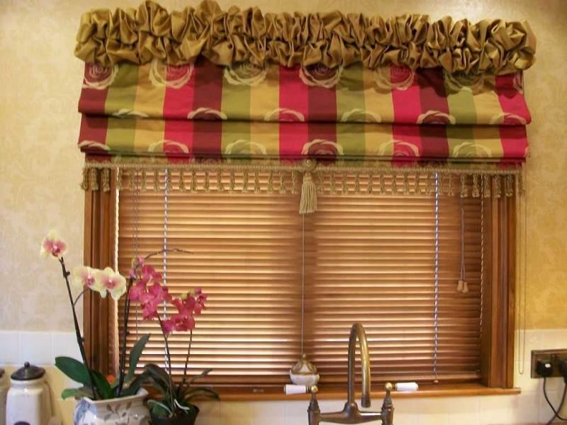 Римские шторы с ламбрекеном бахромой и кистью