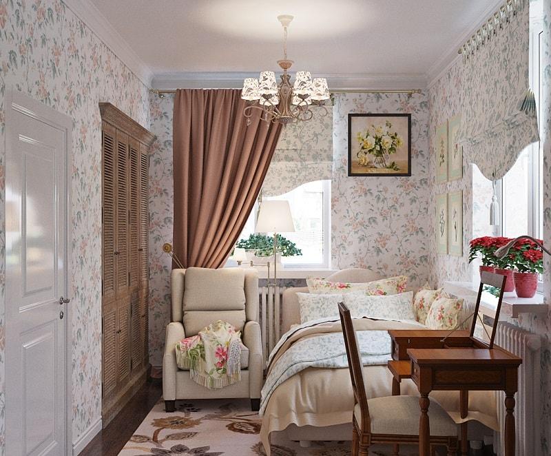 Спальня в стиле прованс с римскими шторами