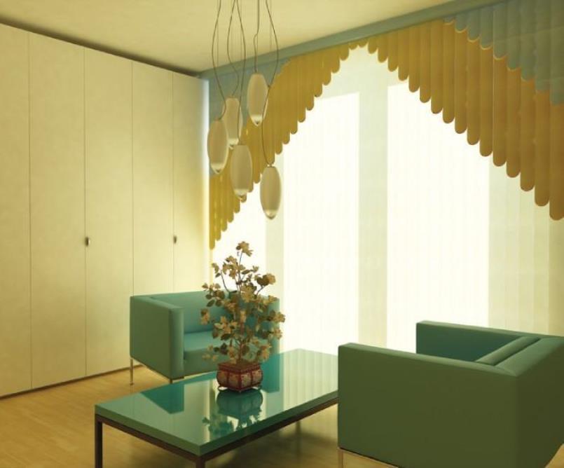 Мультифактурные жалюзи в интерьере комнаты для переговоров
