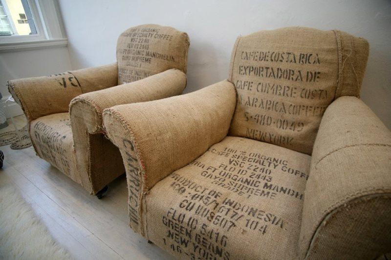 кресло из мешковины