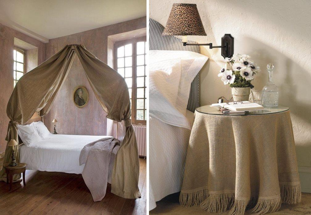 мешковина в интерьере спальни