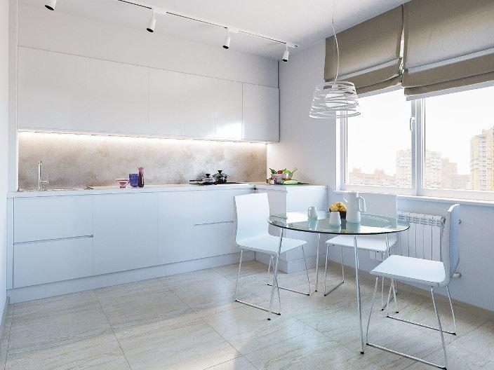 серые римские шторы в интерьере кухни