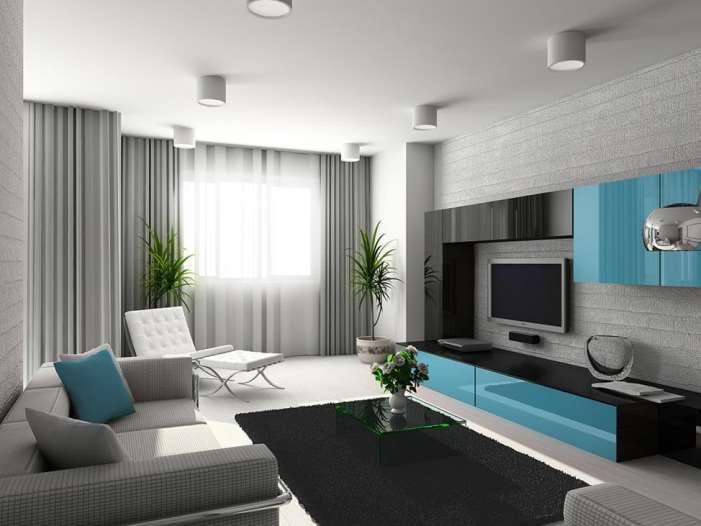серые шторы в гостиной в стиле хайтэк