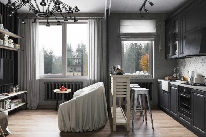 серые шторы в квартире студии