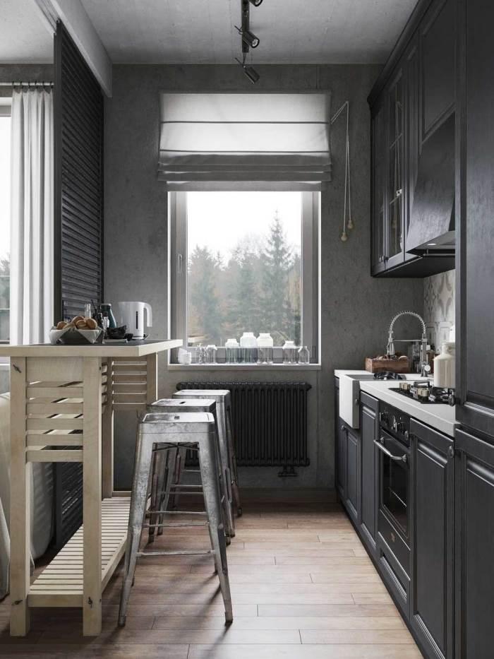 серые шторы в маленькой кухне