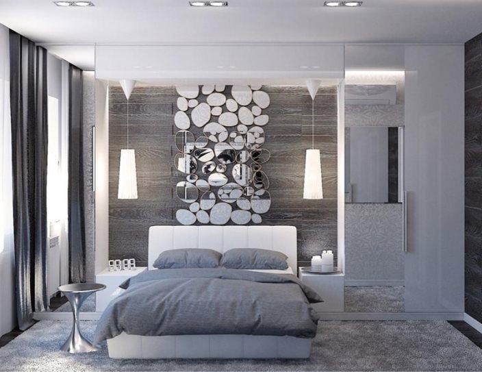 спальня в серых тонах и серыми шторами