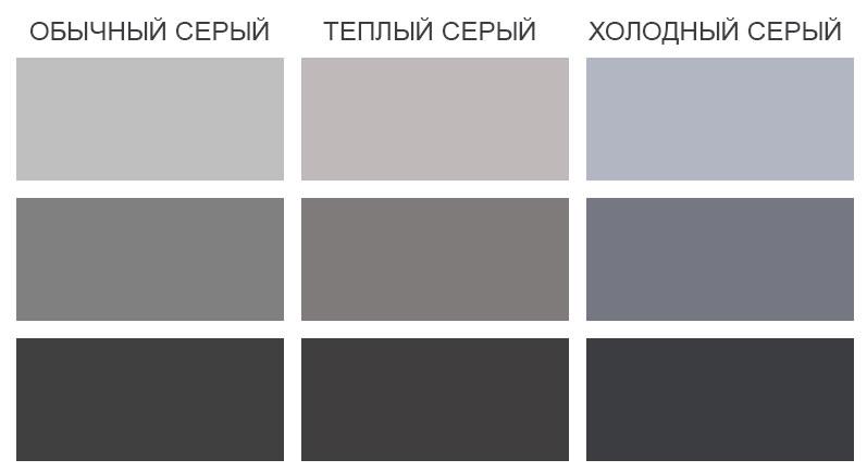 таблица оттенков серого цвета