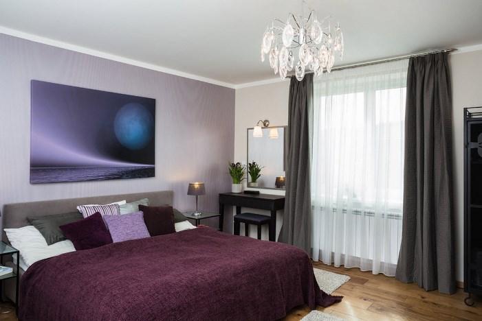 темно серые шторы в спальне