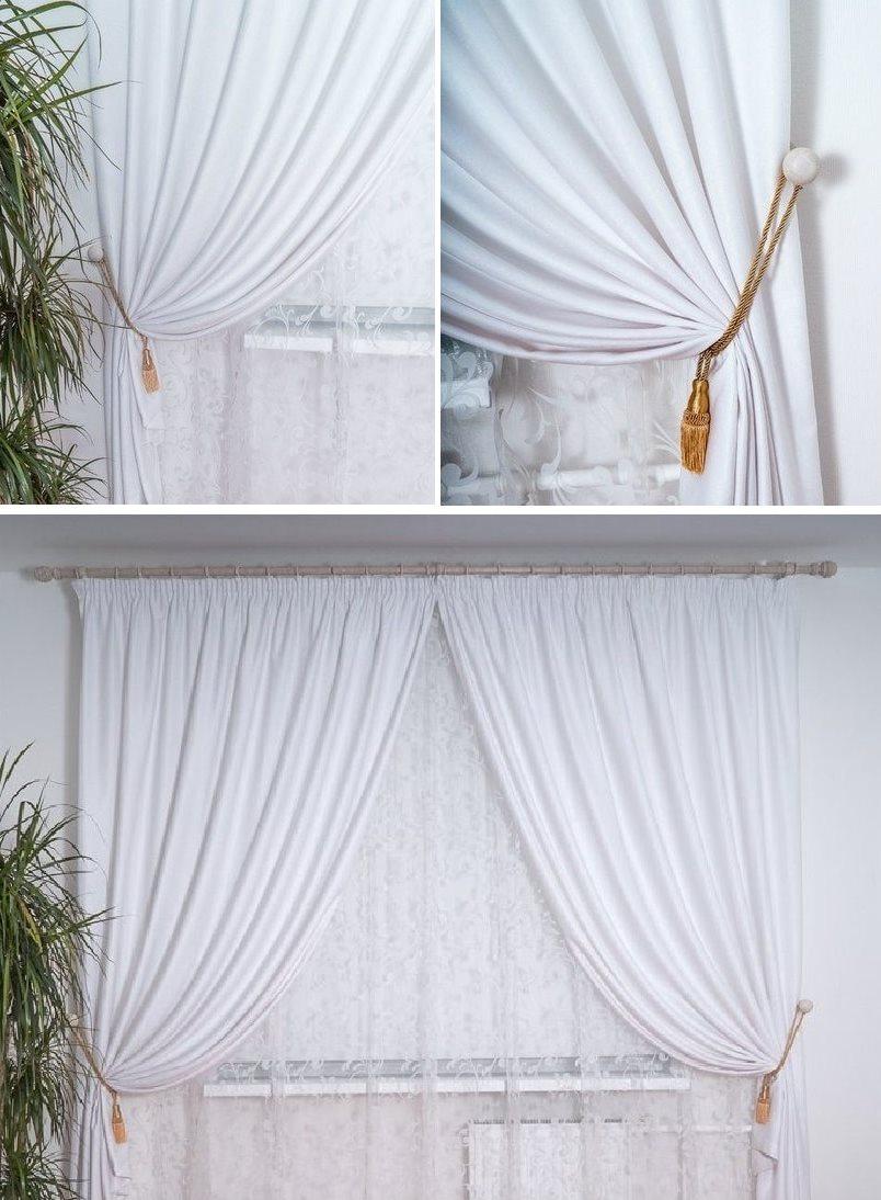 белые шторы софт в интерьере гостиной