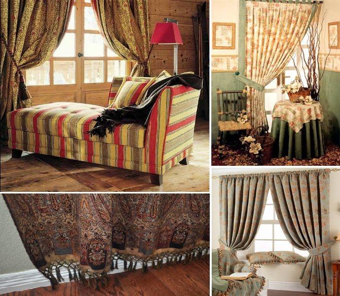 гобеленовые шторы в разных интерьерах