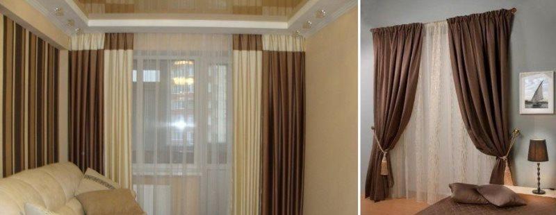 коричневые шторы софт в интерьере