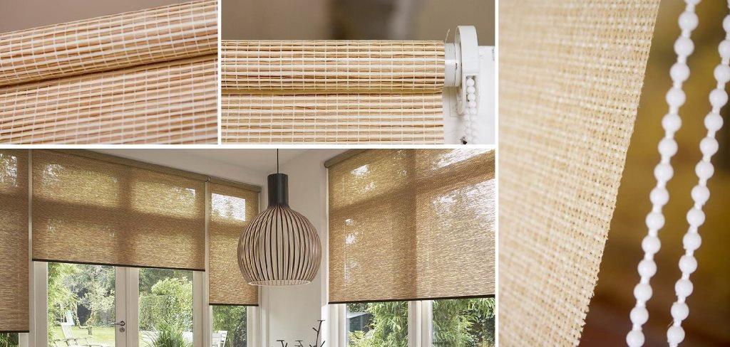 рулонные шторы с открытым механизмом из джута и соломки