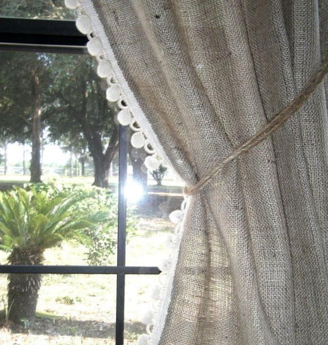 штора из грубой льняной мешковины