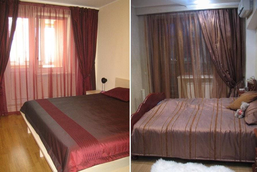 шторы и покрывала из тафты в спальне городской квартиры