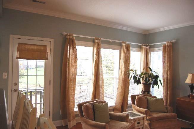 Занавески и шторы из мешковины фото в интерьере