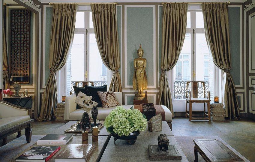 шторы из тафты в роскошном интерьере