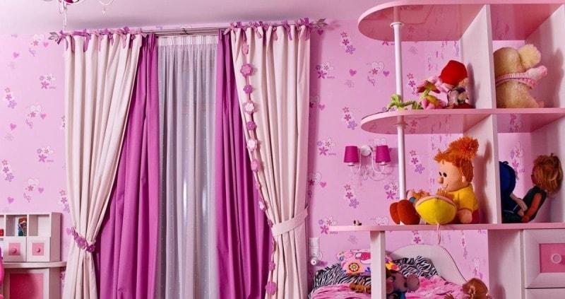 шторы из ткани софт в интерьере детской