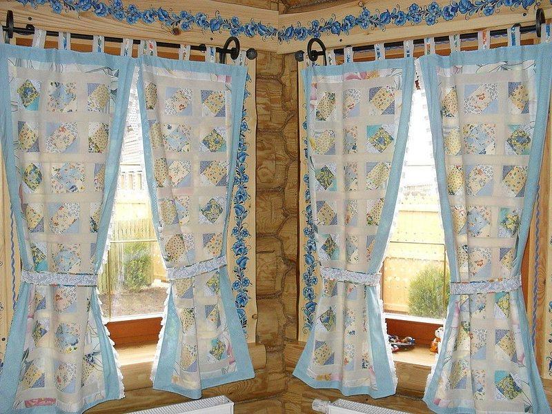 шторы на кухню в стиле русской избы
