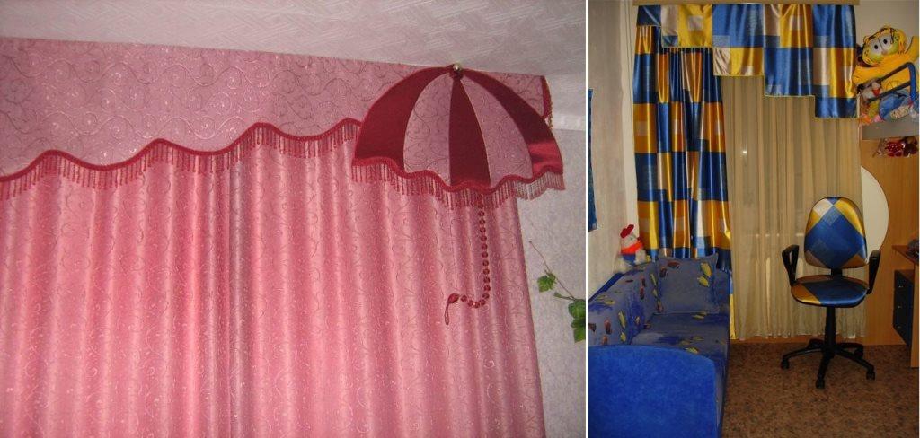 занавески из атласа в детской комнате