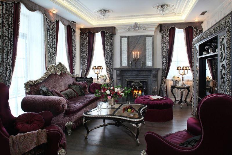панбархатные шторы в гостиной в стиле рококо