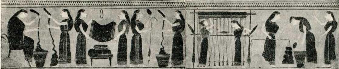 производство льняной ткани на рисунке амфоры