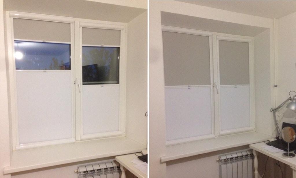 рулонки расположены и сверху рамы и снизу на одном окне
