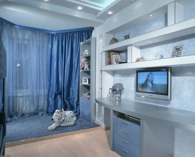 Синие шторы (занавески) в интерьере с фото