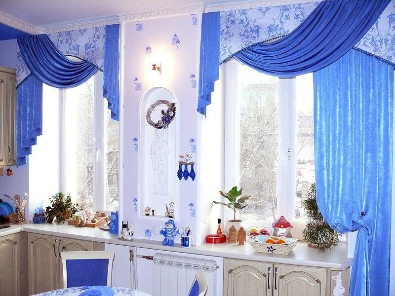 синие занавески на кухне