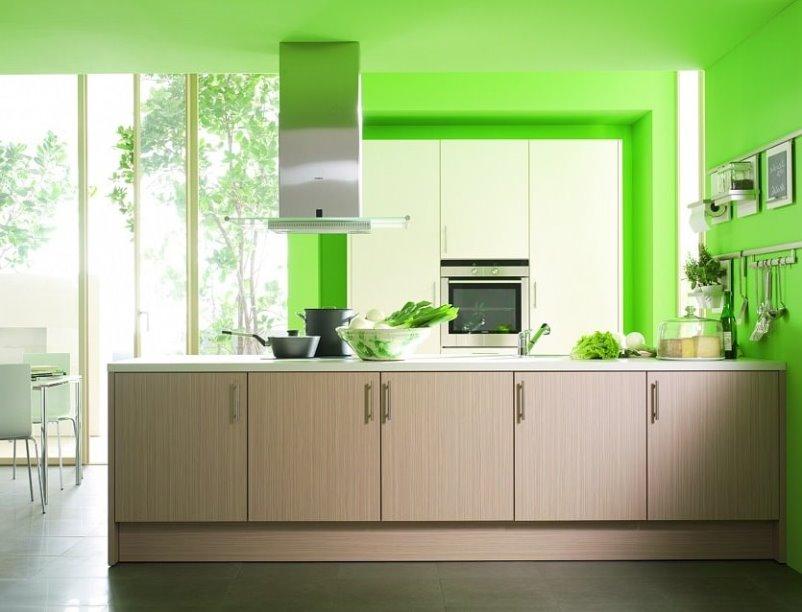 сочетание белого зеленого и коричневого цветов на кухне