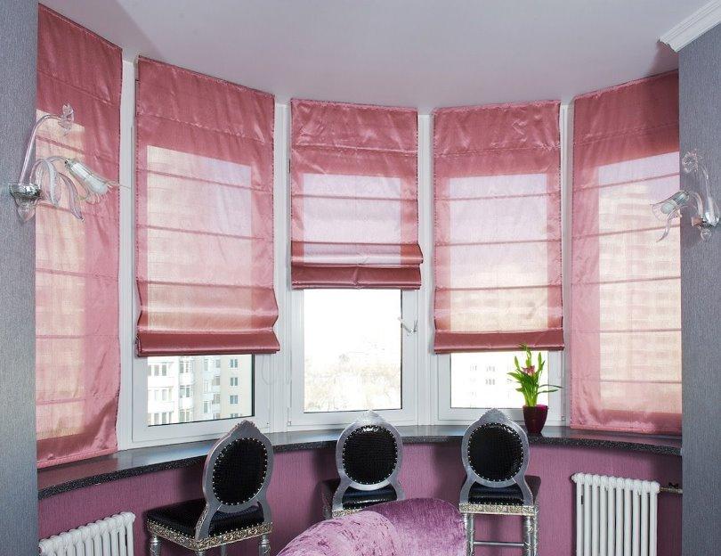 римские шторы из шифонового полотна