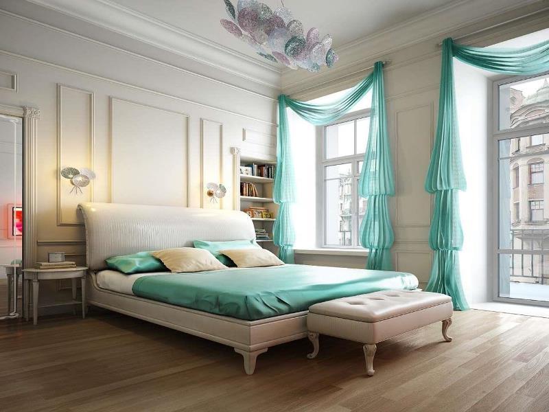 шторы рукав епископа в большой роскошной спальне